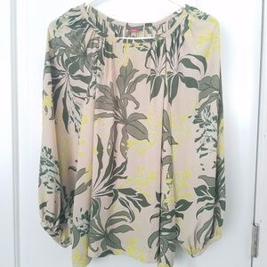 Vince Camuto Top Botanical Print Blouse Size S